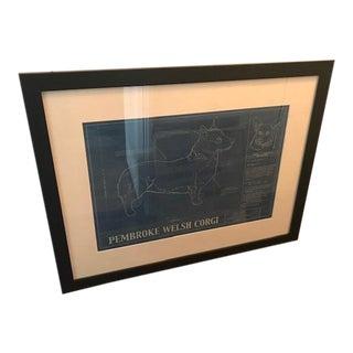 Mid Century Modern Pembroke Welsh Corgi Blue Print, Framed For Sale
