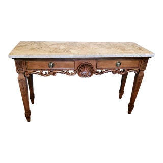 Century Furniture Carved Wood Marble Top Console Table For Sale