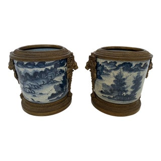 Asian Style Blue and White Flower Pots Cachepots With Bronze Decoration - a Pair For Sale