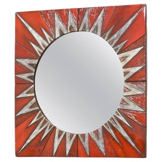 Ceramic Sunburst Mirror Designed by Oswald Tieberghien For Sale