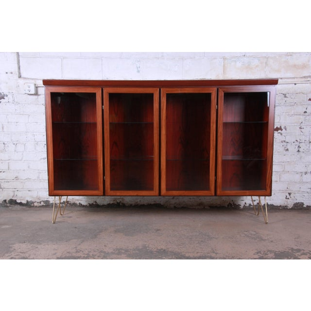 Skovby Danish Modern Rosewood Glass Front Bookcase on Hairpin Legs For Sale - Image 12 of 12