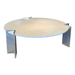 1970s Travertine and Steel Cocktail Table by Pace Collection For Sale