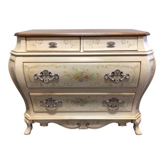 French Provincial Louis XV Style Painted Bombe Chest by Pulaski For Sale