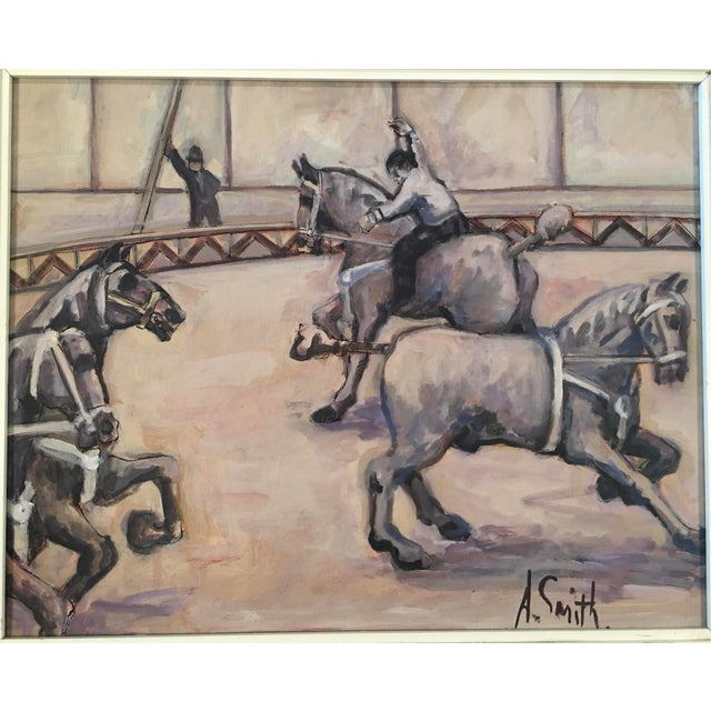 A beautiful Arthur Smith 'Trick Riding' original from his infamous circus series. Demonstrated in this work is Smith's...