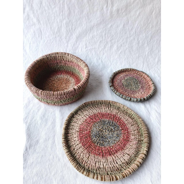 White Primitive Woven Pine Needle Basket Trio - Set of 3 For Sale - Image 8 of 8