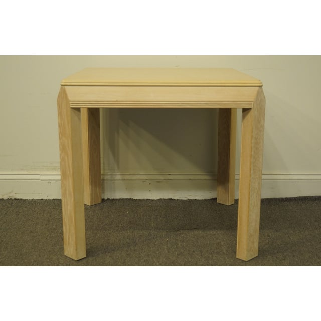 """Wood 20th Century Transitional Drexel Heritage Collection Contemporary Blonde 27"""" Square Accent Table For Sale - Image 7 of 10"""