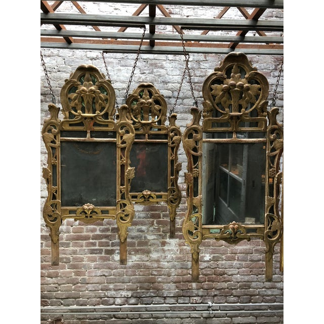 18th Century Louis XV Carved Gilt Wood Mirrors, Exceptionnel Set of Three. For Sale - Image 11 of 13