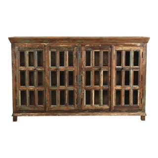 Reclaimed Wood With Glass Door Sideboard