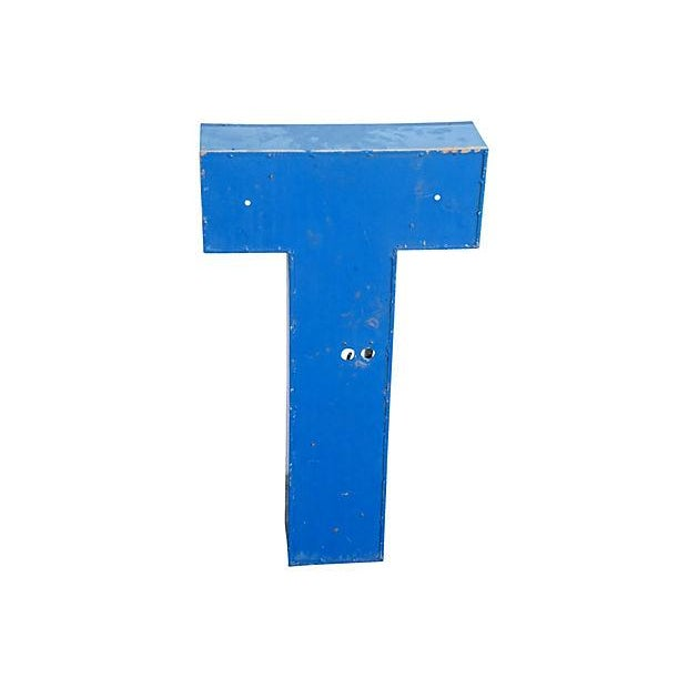 "Large 30"" Tall Industrial Blue & White Metal Marquee Letter T For Sale - Image 5 of 6"