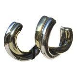 Image of Criss-Cross Hoops in Sterling Silver Earrings For Sale