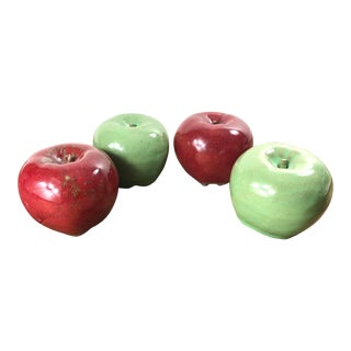 Vintage Red and Green Ceramic Glazed Apples - Set of 4 For Sale