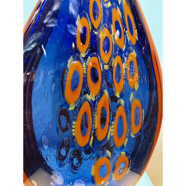 Art Glass Dona Modern Art Glass Blue and Orange Sculpture Vase With Red and Yellow Murrine For Sale - Image 7 of 12