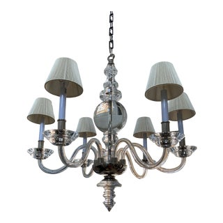 6 Arm Lucite Modern Chandelier For Sale