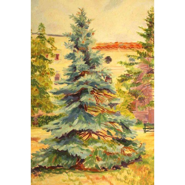 Impressionism Cheerful Fir Tree Painting For Sale - Image 3 of 7