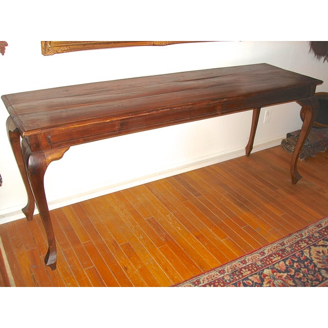 Handcrafted Antique Plank Top Sofa/Console Table - Image 2 of 10