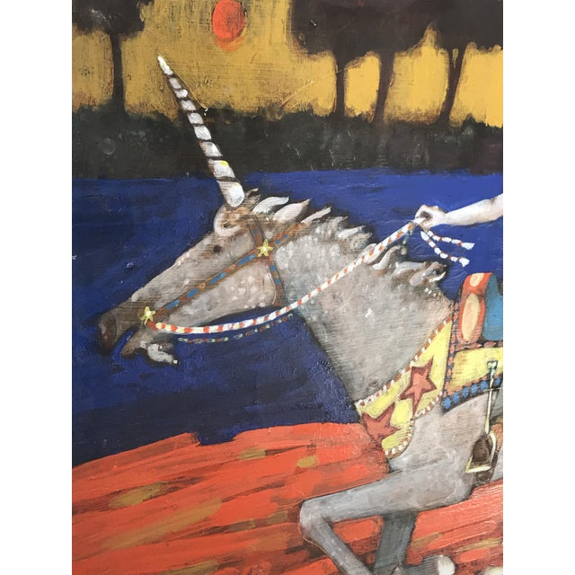 1980s Folk Art Style Figurative Unicorn Painting on Board by Ted Bredt For Sale - Image 4 of 10