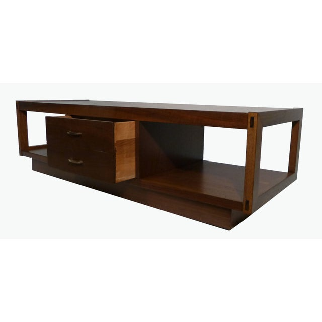 Mid-Century Modern Architectonic Walnut Coffee Table by Lane For Sale - Image 3 of 5