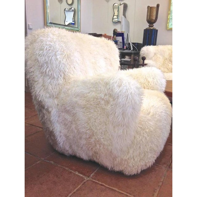 Mid-Century Modern Viggo Boesen Pair of Hairy Club Chairs Covered in Sheep Skin Fur For Sale - Image 3 of 6