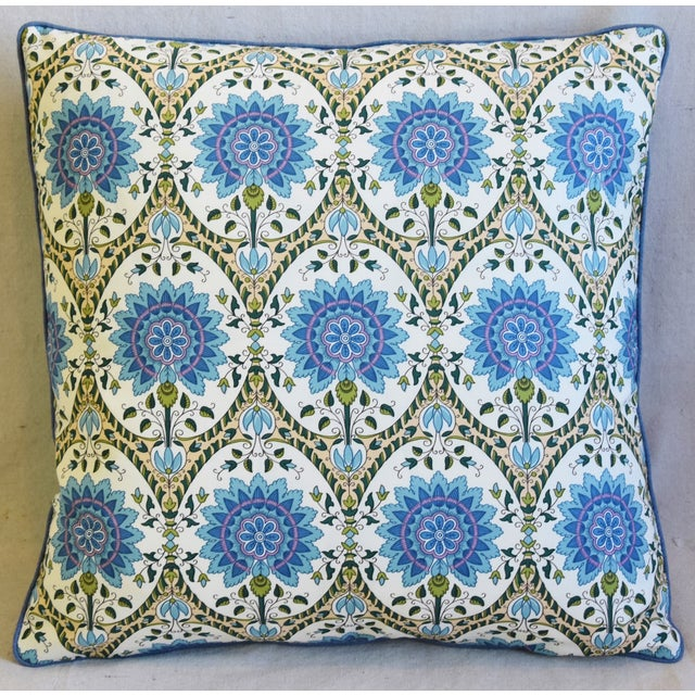 """Custom-tailored pillow in French Pierre Frey """"Taj Mahal"""" floral printed cotton fabric. Blue-colored linen fabric back...."""