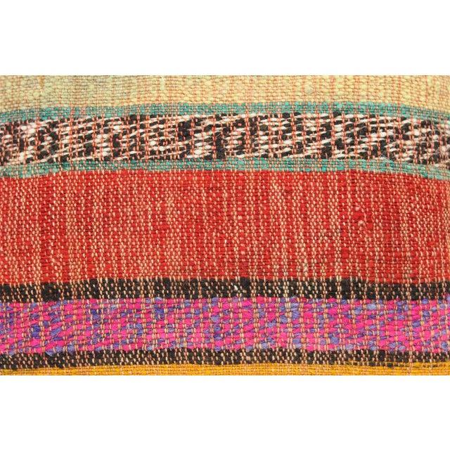Vintage Turkish Kilim Stiped Wool Rug Pillow Case For Sale - Image 4 of 6