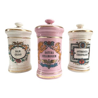 Rare Antique Pink & White Hand Decorated Large Apothecary Gilt Jars - Set of 3 For Sale
