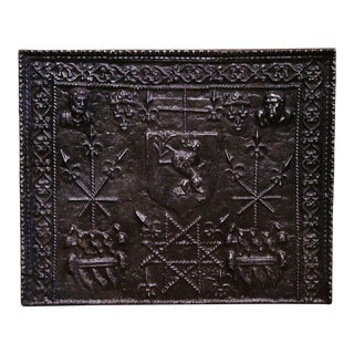 18th Century French Polished Iron Fireback With Coat of Arms and Fleur De Lys For Sale