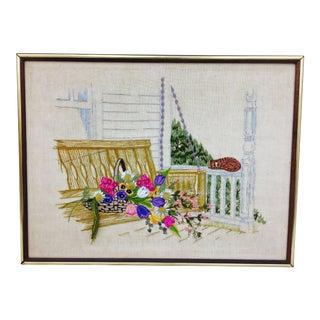 Vintage Hand Stitch in Frame For Sale