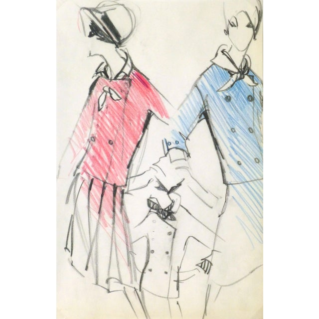 Original Balmain Dress Suit Fashion Sketch 1960 - Image 1 of 4