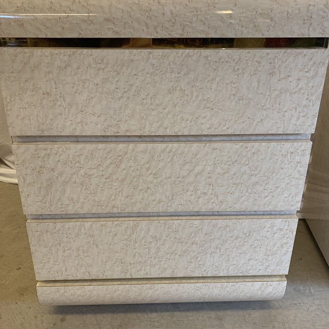 Metal Post Modern Laminate Brass Nightstands -A Pair For Sale - Image 7 of 10
