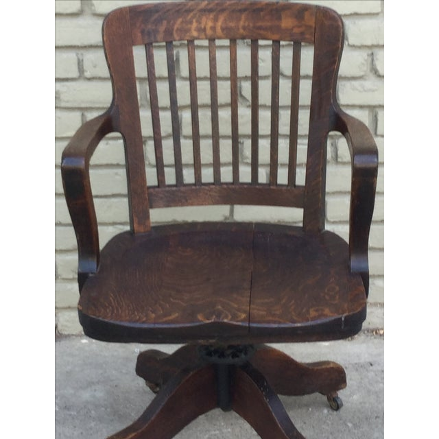 Country Milwaukee Chair Company Oak Office Chair For Sale - Image 3 of 7