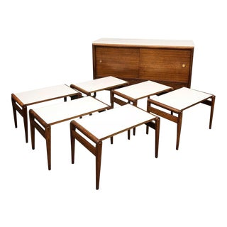 1950s Mid-Century Modern John Keal for Brown Saltman Server and 6 Pullout Trays - 7 Pieces For Sale