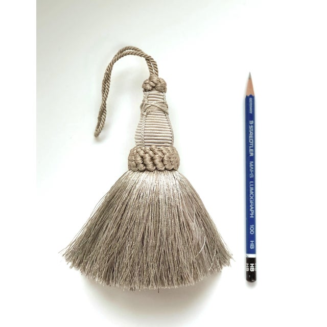 Pair of Key Tassels in Pewter With Looped Ruche Trim For Sale - Image 4 of 11
