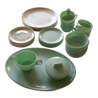Mid-Century Green Melamine Dinnerware