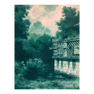 "Illustration of Mayan Ruins, ""Habitat Maya No.2"" For Sale"