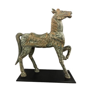 Large Hand-Painted Carved Prancing Horse Sculpture Equestrian Equine For Sale
