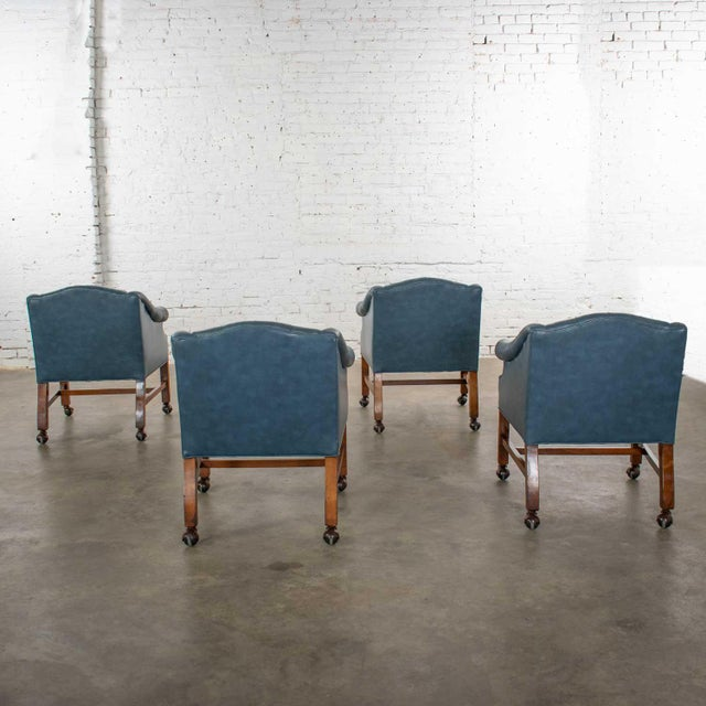 Late 20th Century Blue Vinyl Faux Leather Chinese Chippendale Tub Style Rolling Game Chairs Set of Four For Sale - Image 5 of 13