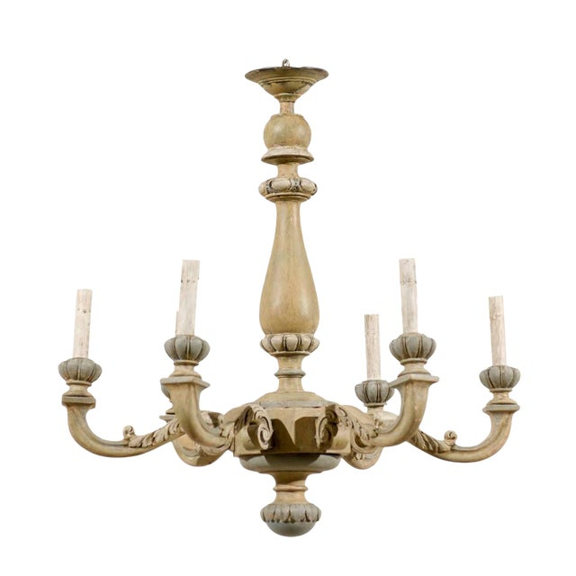 French Carved and Painted Wood Six-Light Vintage Chandelier, Neutral Color For Sale