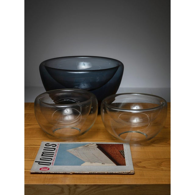 Modern Set of Three 70s Vistosi Glass Bowls For Sale - Image 3 of 4
