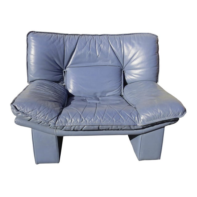 Animal Skin 1970's Modern Nicoletti Salotti Leather Sofa and Lounge Chair- 2 Pieces For Sale - Image 7 of 13
