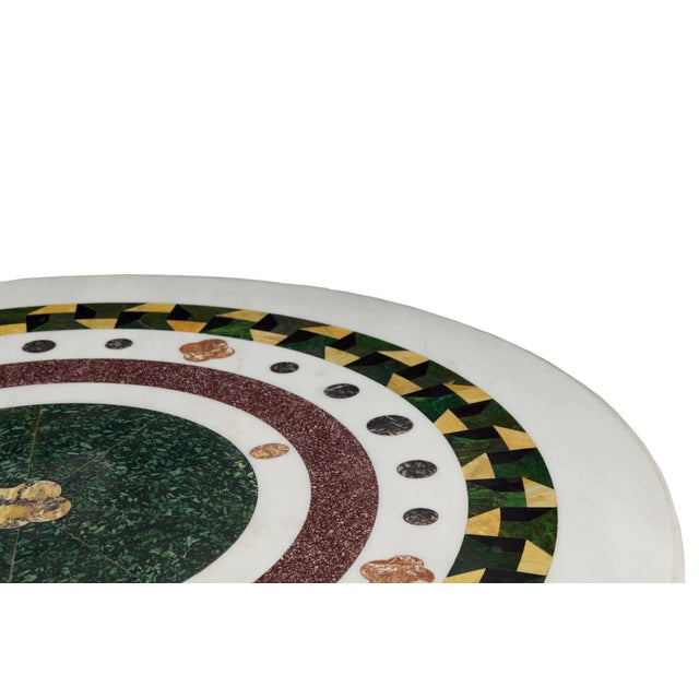 Neoclassical Italian Neoclassical Antique Pietra Dura Center Table W/ Bronze Base For Sale - Image 3 of 11
