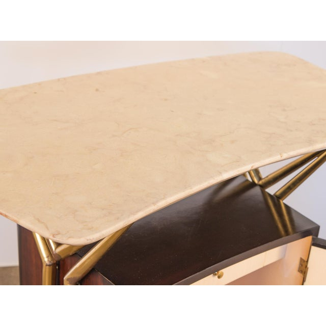 Gold Gio Ponti Style Marble Dry Bar For Sale - Image 8 of 11