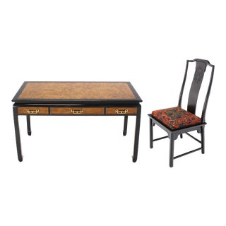 Mid-Century Modern Burl Wood Writing Table & Matching Chair For Sale