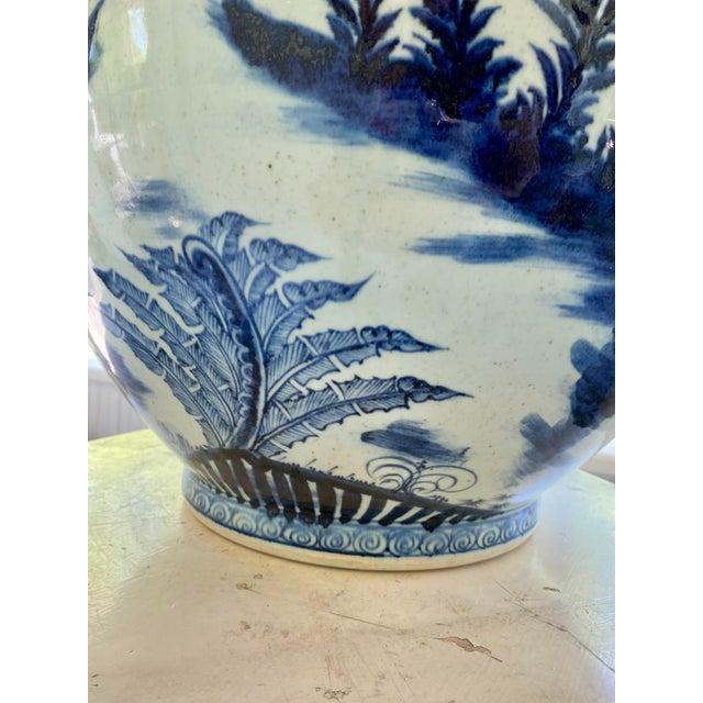 Large Vintage Blue & White Dragons Asian Fish Bowl Planter Pot For Sale - Image 4 of 12