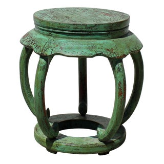 Distressed Light Teal Green Lacquer Curved Legs Wood Stool Table For Sale