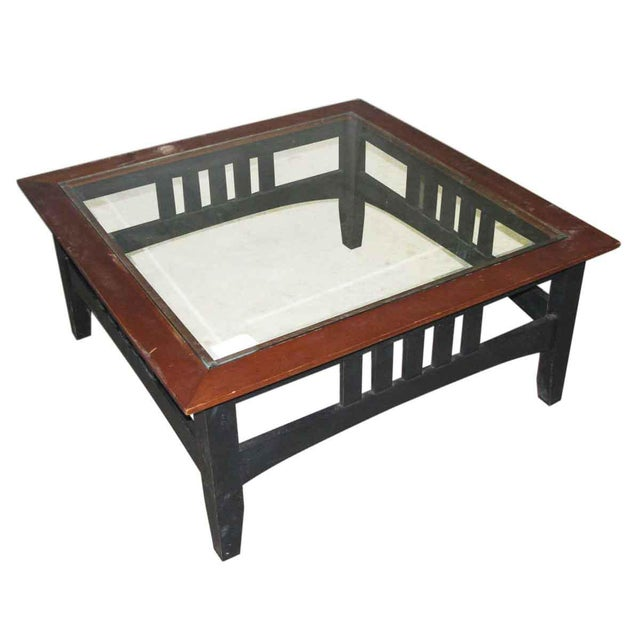 Reproduction Arts and Crafts design coffee table with glass top. Priced as is.
