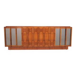 Brutalist Mid Century 9 Drawer Credenza / Dresser by Tabago For Sale