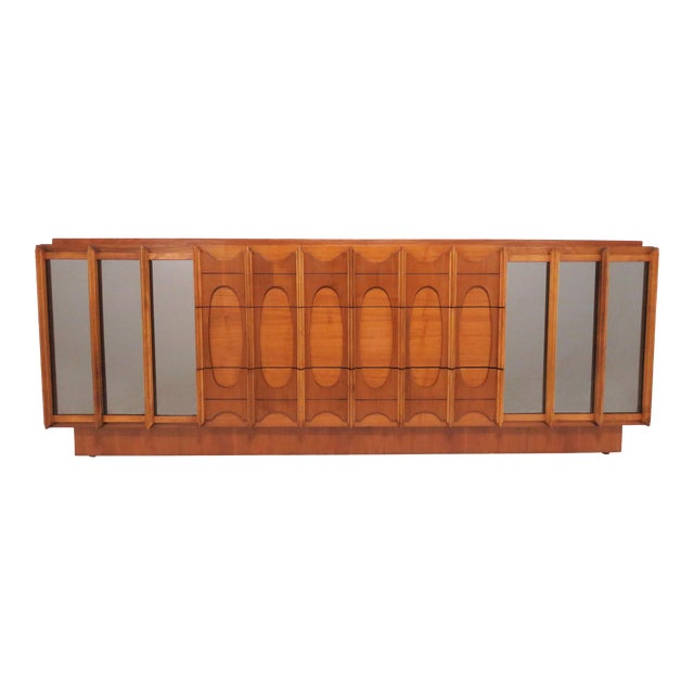 Brutalist Mid Century 9 Drawer Credenza / Dresser by Tabago For Sale
