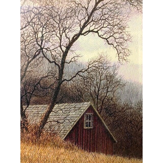 Original Realist Peter Keating Dreamy Watercolor of Mountainside Barn For Sale In Philadelphia - Image 6 of 10