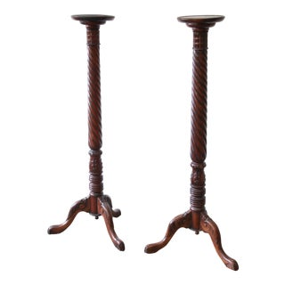 Pair of Ornate Carved Mahogany Plant Stands For Sale