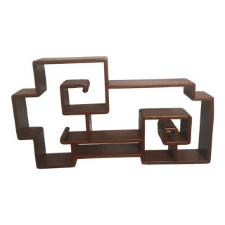 Teak Wood Table Top Curio Display For Sale